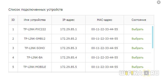список устройств qos tp link