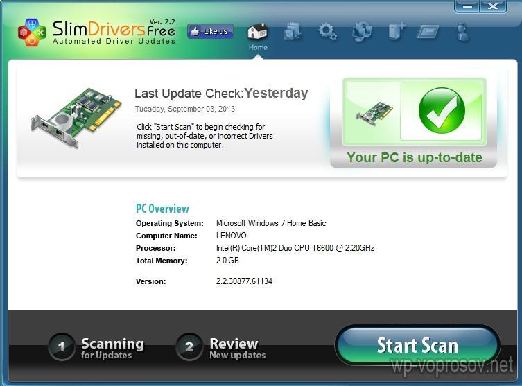 SlimDriver ищет драйвер видеокарты
