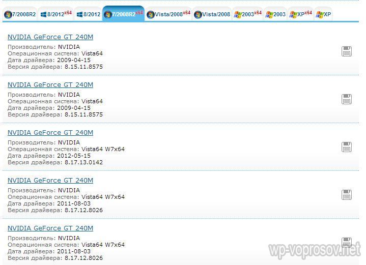 список драйверов на ноутбук