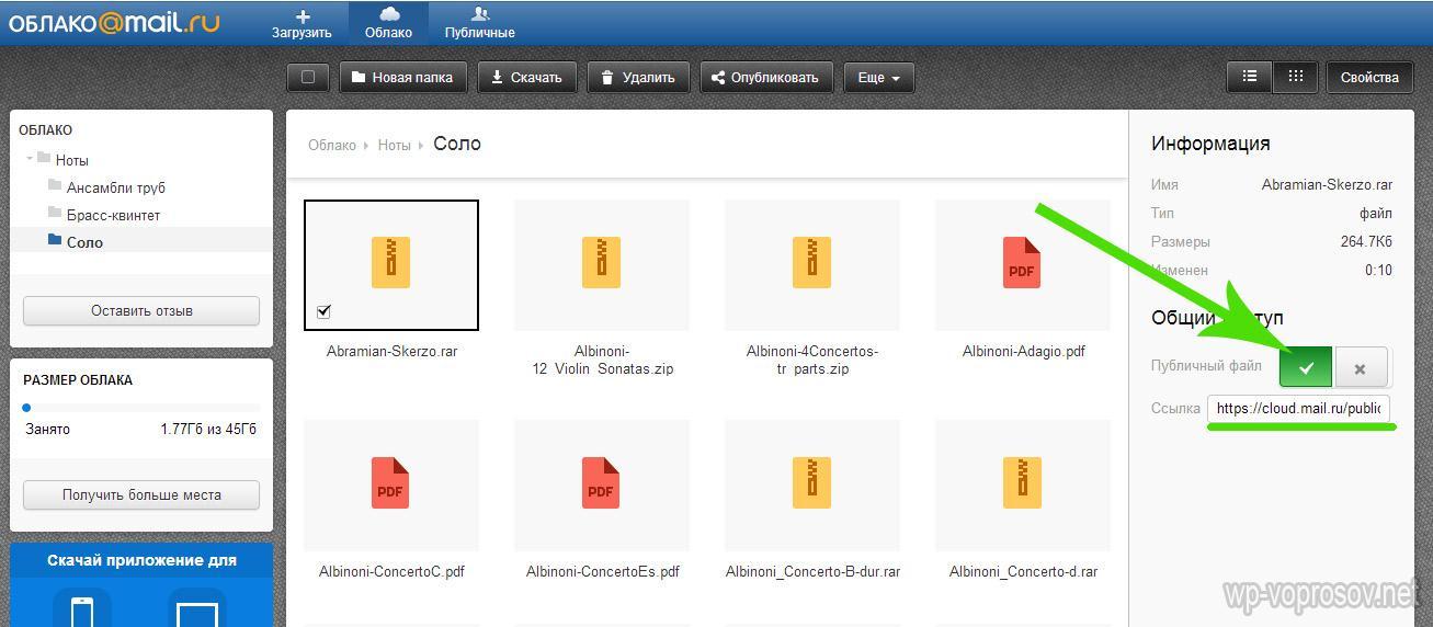 Публичные файлы в облачном хранилище от Mail.ru