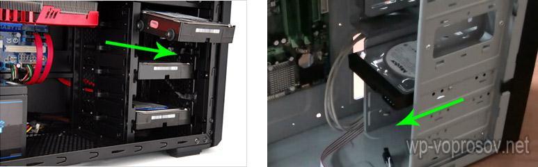 Направление установки хард-диска в корпус