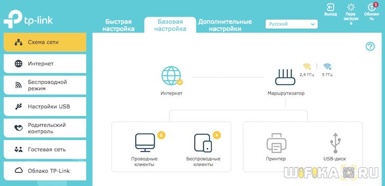 веб-интерфейс роутера tp link