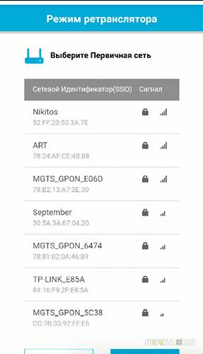сети wifi повторителя