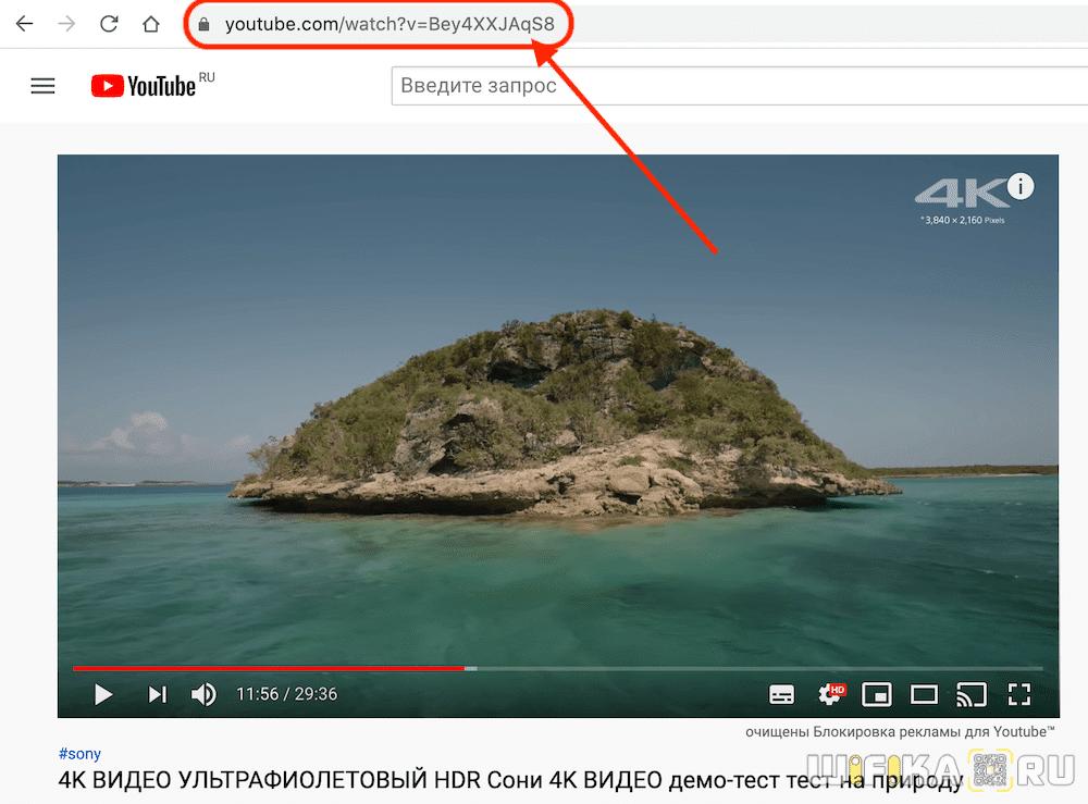 скопировать ссылку на видео youtube