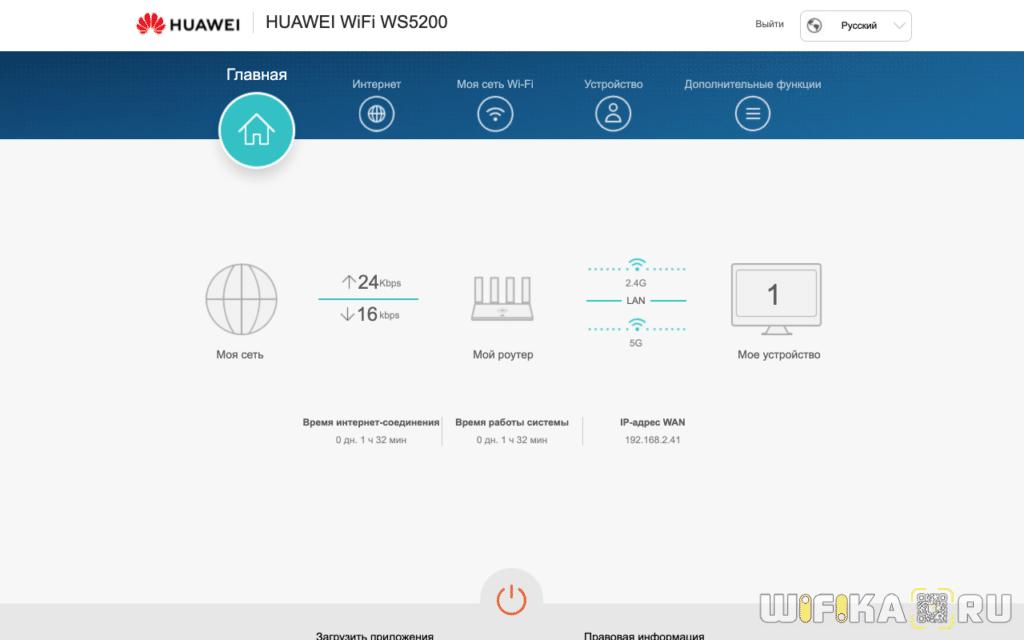 панель управления huawei ws5200